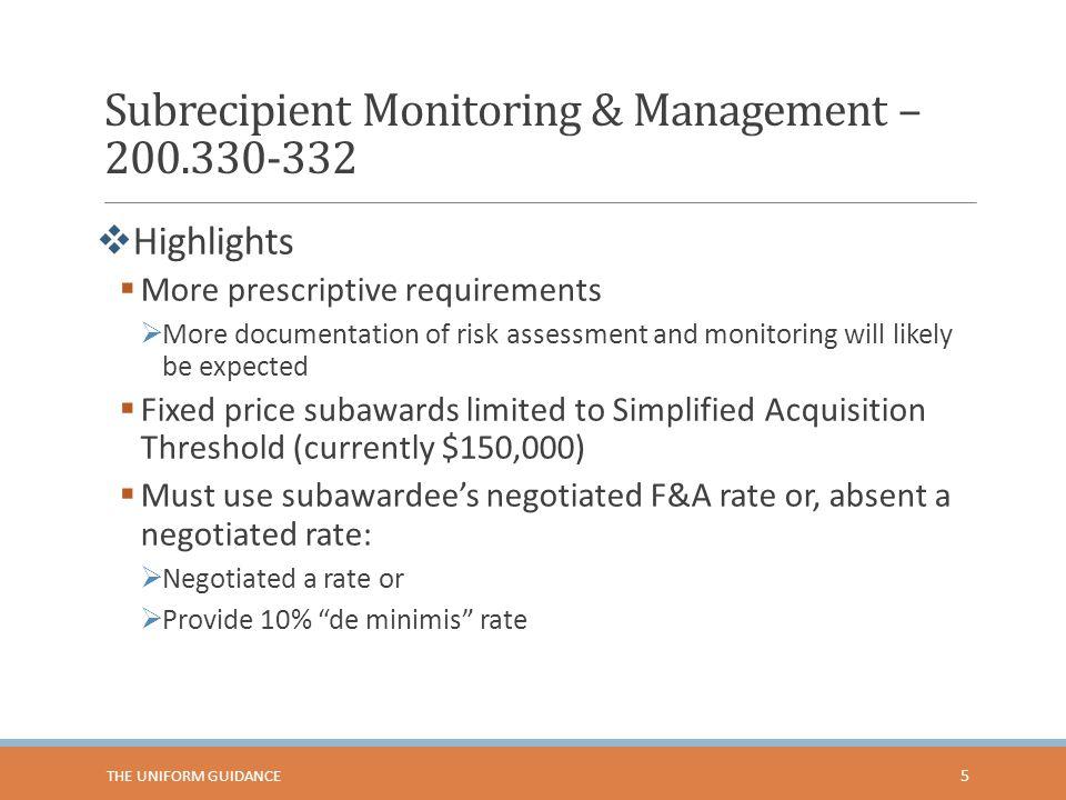 Subrecipient Monitoring & Management – 200.330-332