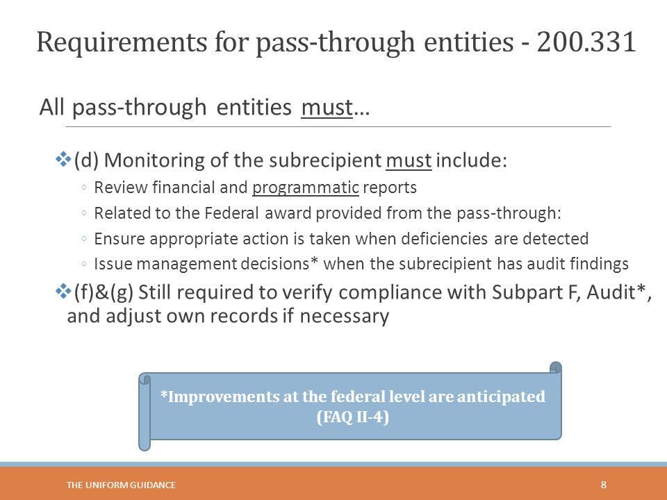 Requirements for pass-through entities - 200.331