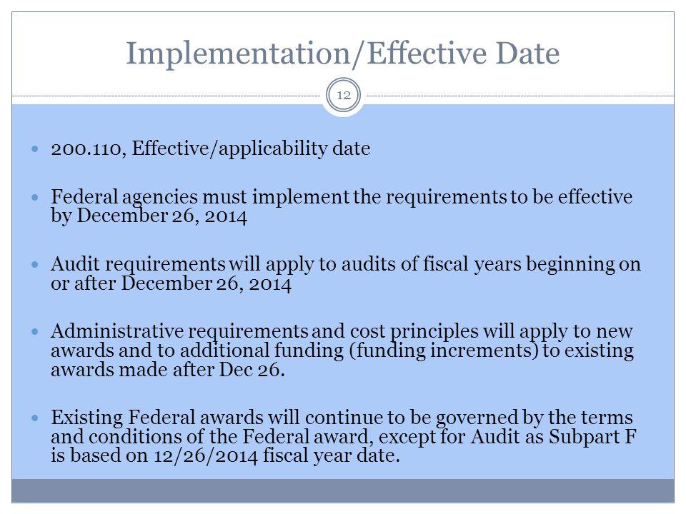 Implementation/Effective Date