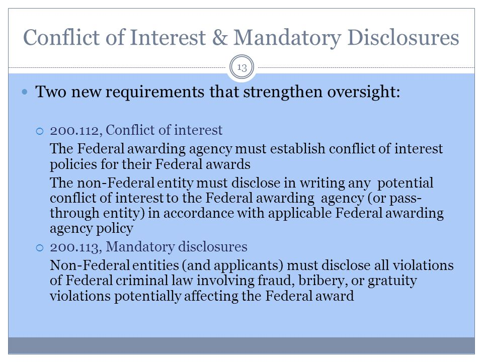 Conflict of Interest & Mandatory Disclosures