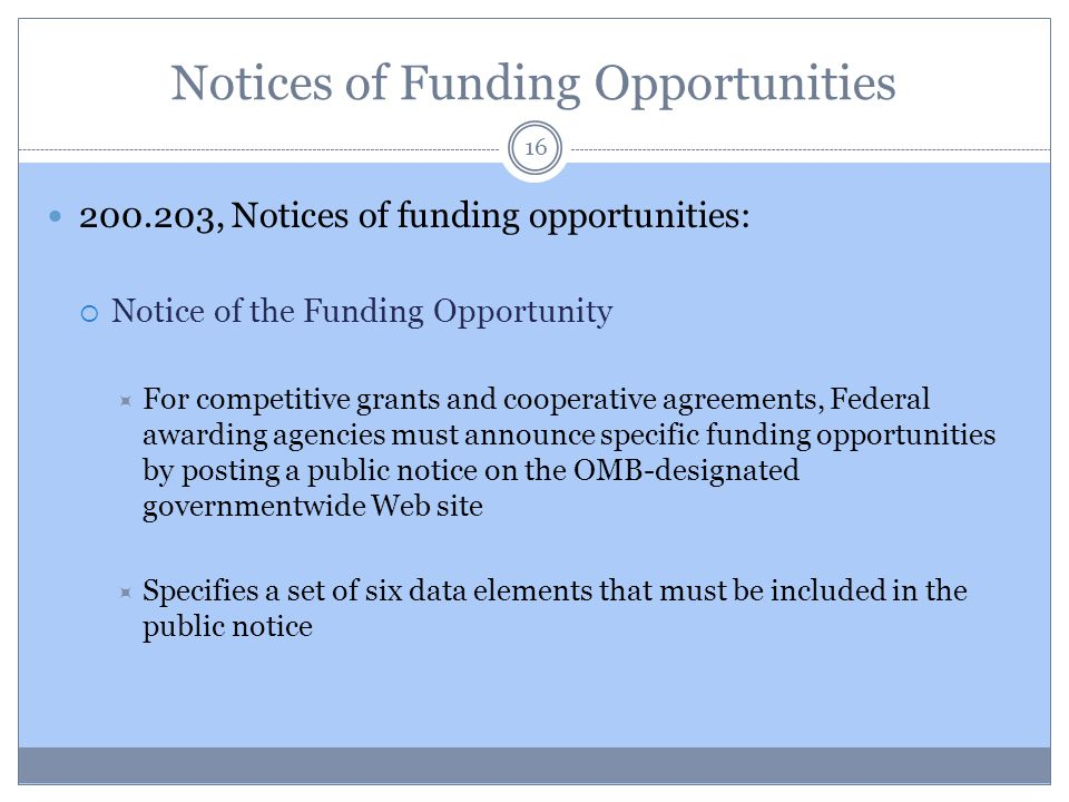 Notices of Funding Opportunities