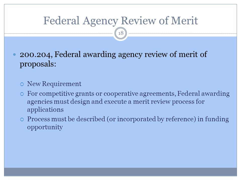 Federal Agency Review of Merit