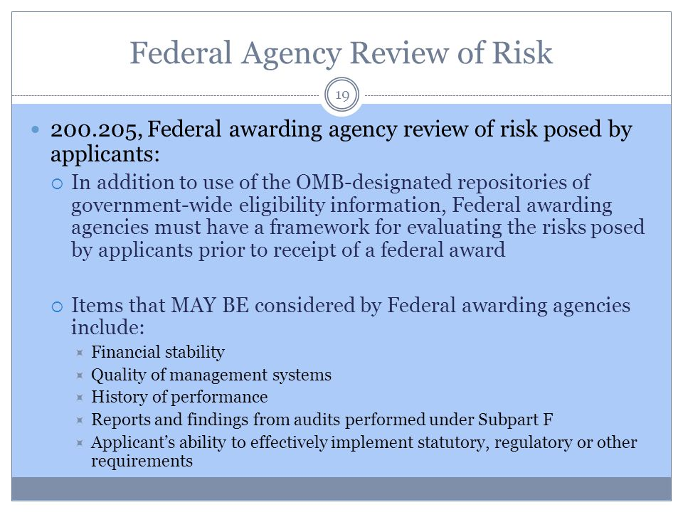 Federal Agency Review of Risk