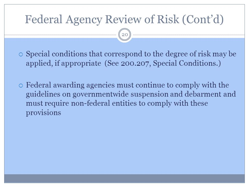 Federal Agency Review of Risk (Cont'd)