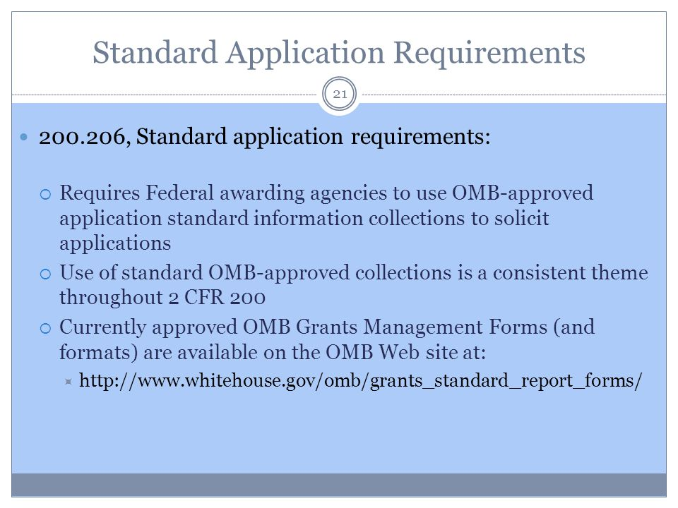 Standard Application Requirements