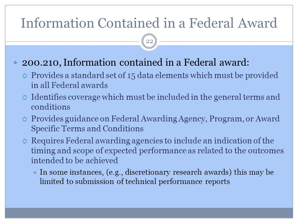 Information Contained in a Federal Award