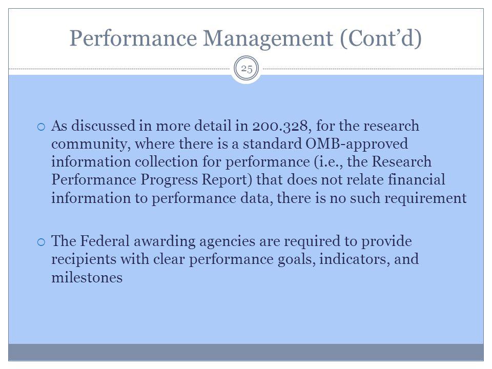 Performance Management (Cont'd)