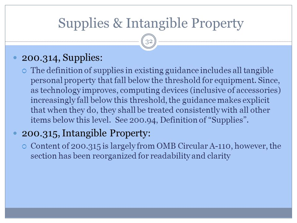 Supplies & Intangible Property
