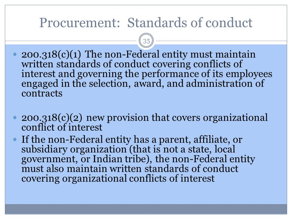 Procurement: Standards of conduct