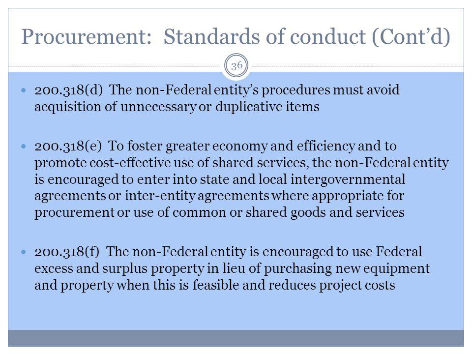 Procurement: Standards of conduct (Cont'd)