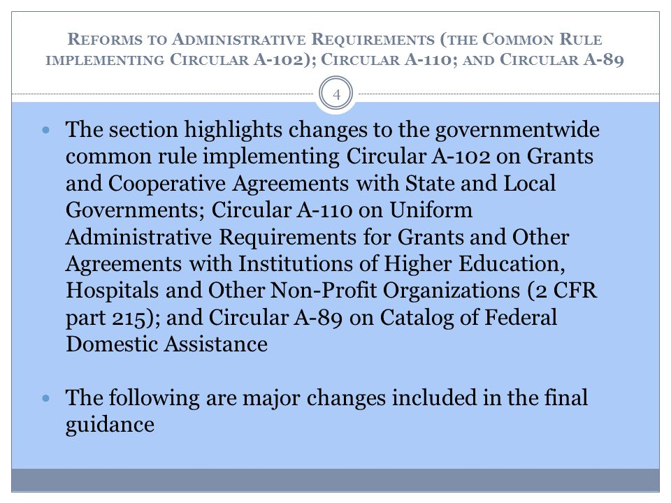 The following are major changes included in the final guidance