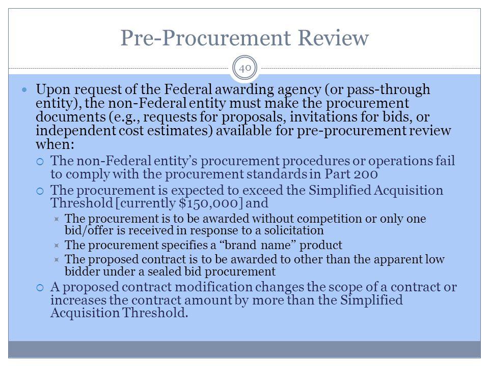 Pre-Procurement Review