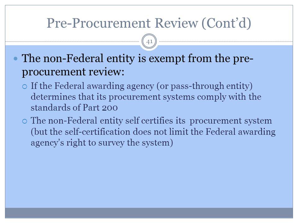 Pre-Procurement Review (Cont'd)