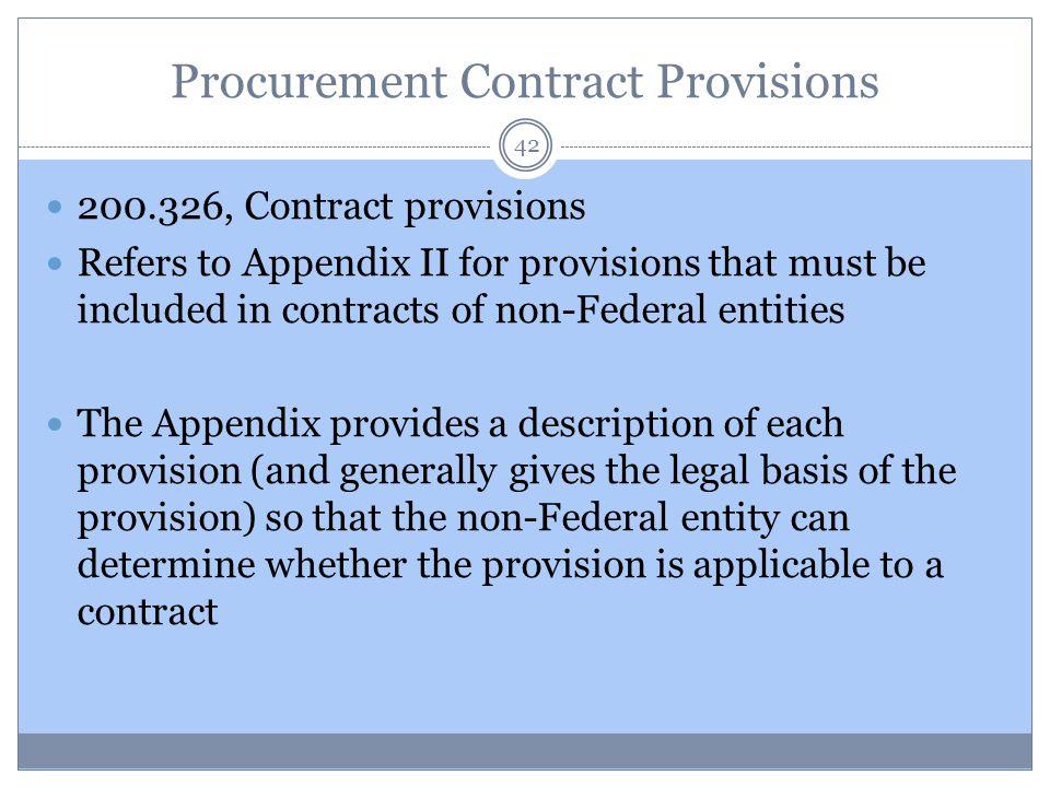 Procurement Contract Provisions