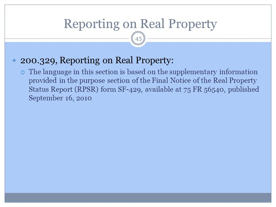 Reporting on Real Property