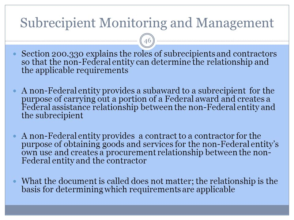 Subrecipient Monitoring and Management