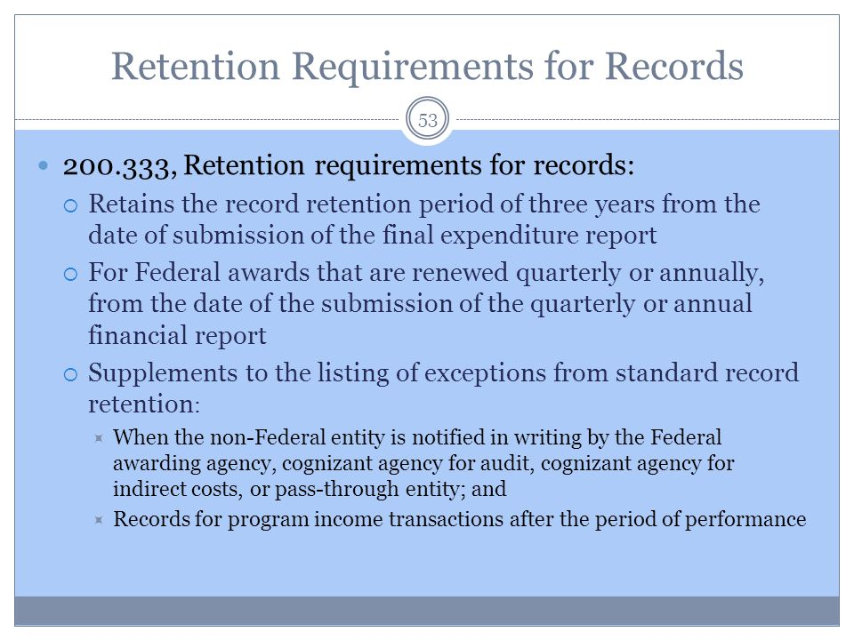 Retention Requirements for Records