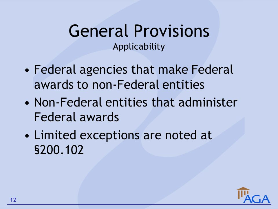 General Provisions Applicability