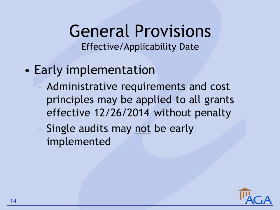 General Provisions Effective/Applicability Date
