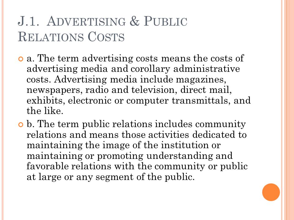 J.1. Advertising & Public Relations Costs