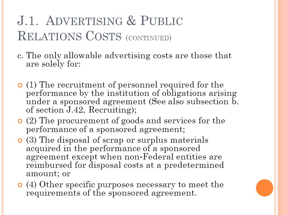 J.1. Advertising & Public Relations Costs (continued)