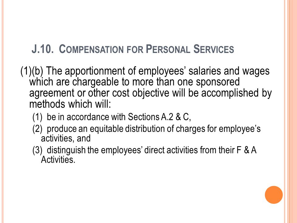 J.10. Compensation for Personal Services