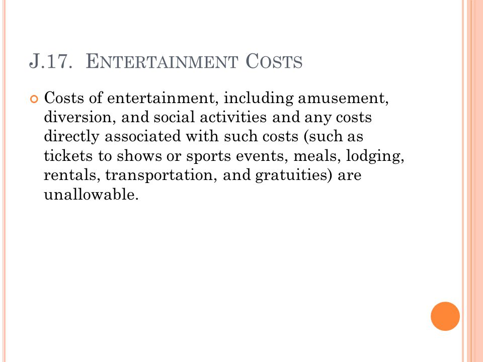 J.17. Entertainment Costs