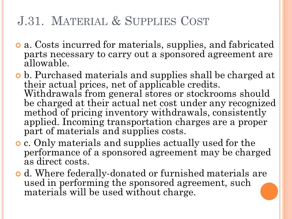 J.31. Material & Supplies Cost