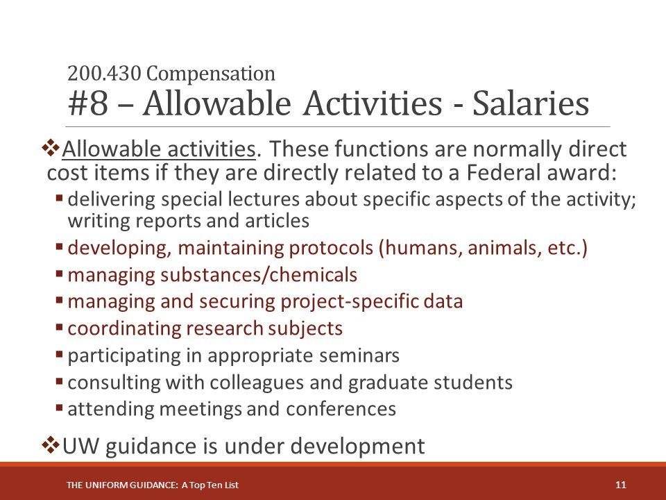 200.430 Compensation #8 – Allowable Activities - Salaries