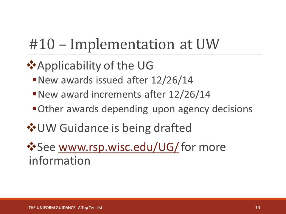 #10 – Implementation at UW