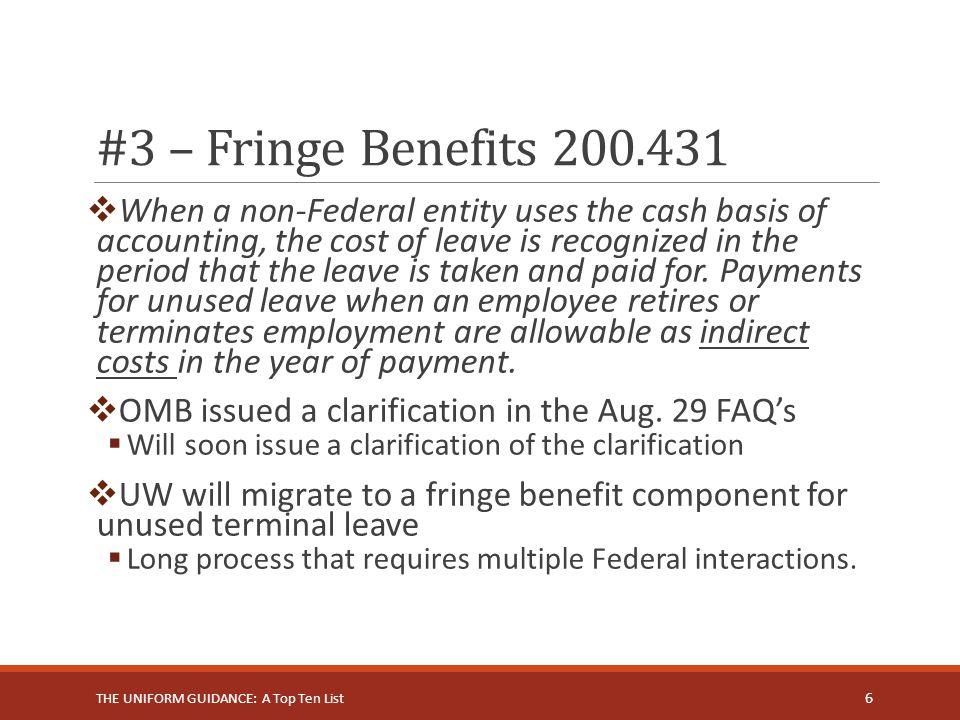 #3 – Fringe Benefits 200.431