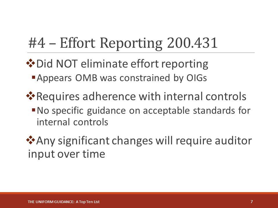 #4 – Effort Reporting 200.431 Did NOT eliminate effort reporting