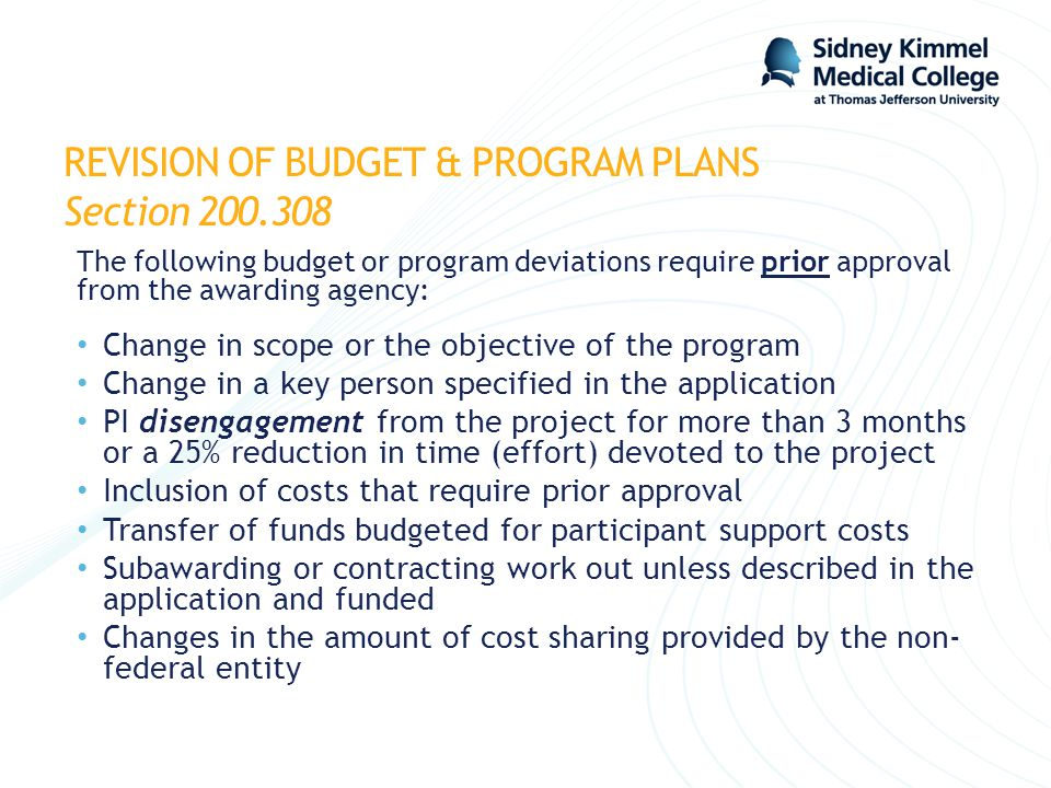 REVISION OF BUDGET & PROGRAM PLANS Section 200.308