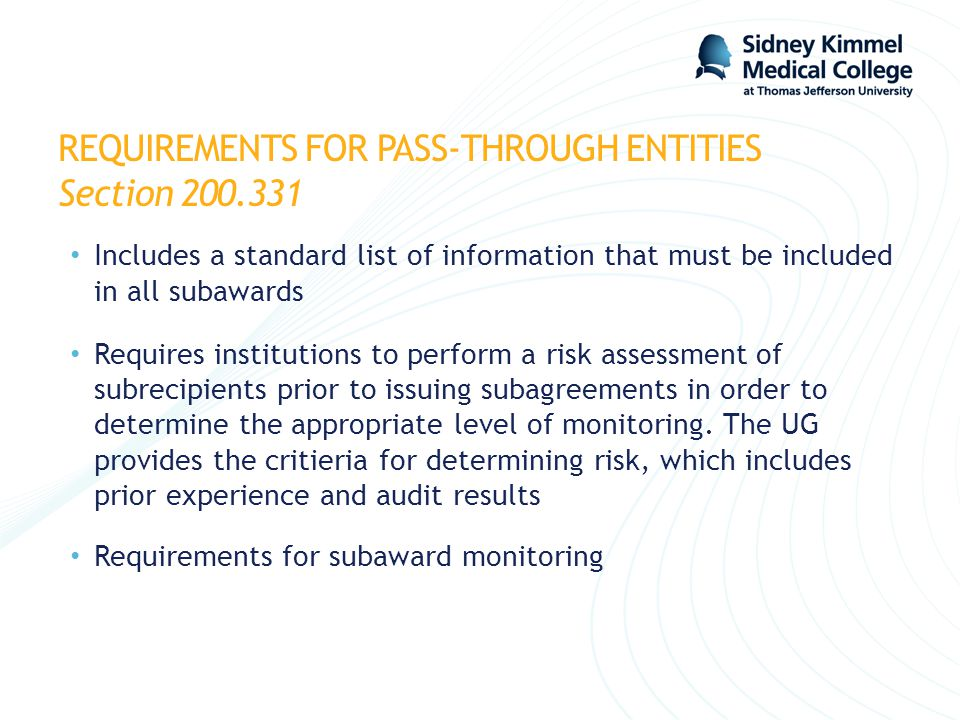 REQUIREMENTS FOR PASS-THROUGH ENTITIES Section