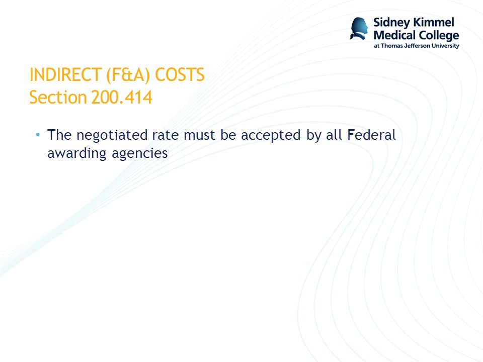 INDIRECT (F&A) COSTS Section