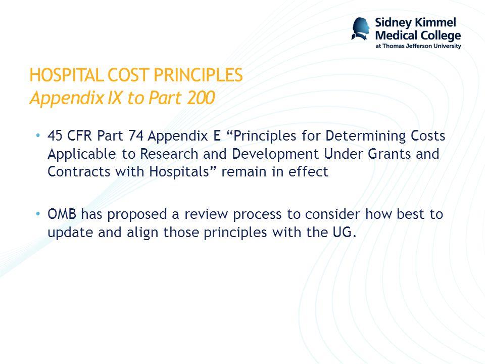 HOSPITAL COST PRINCIPLES Appendix IX to Part 200