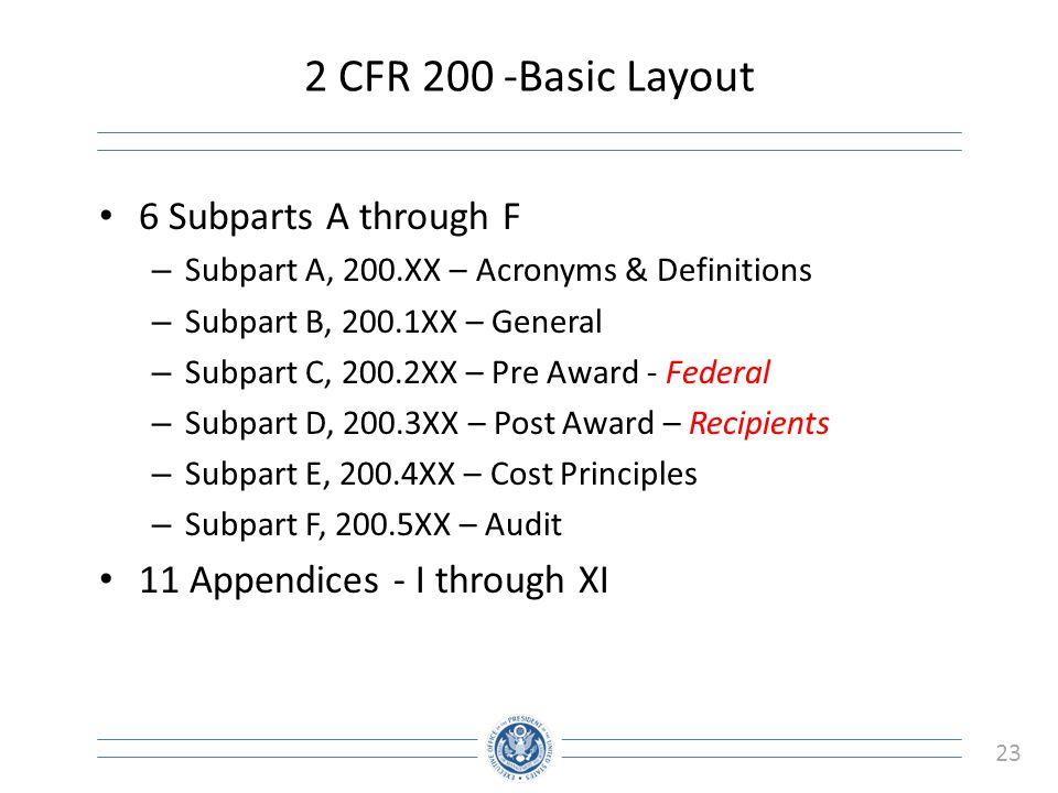 2 CFR 200 -Basic Layout 6 Subparts A through F