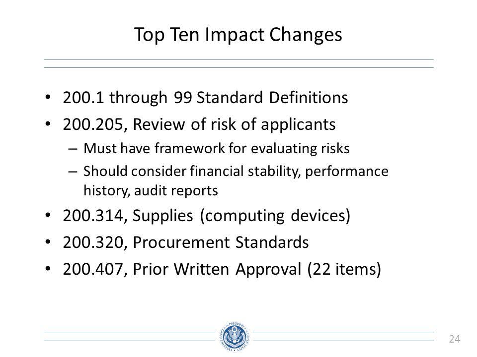 Top Ten Impact Changes 200.1 through 99 Standard Definitions