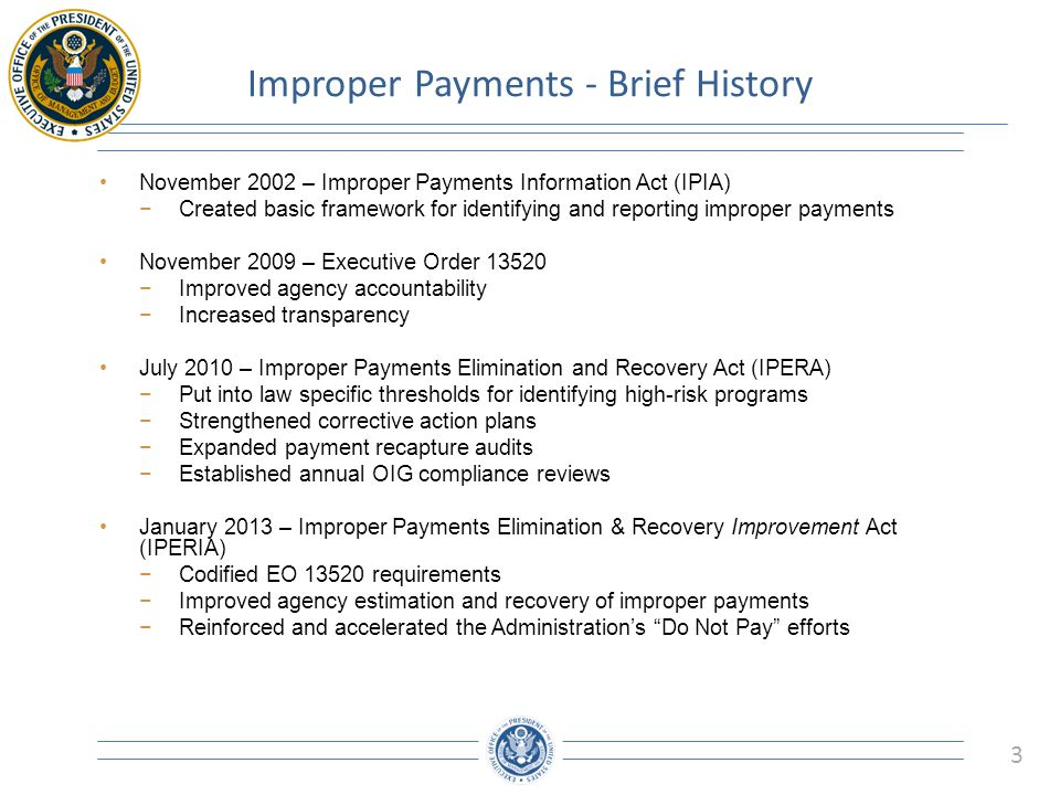 Improper Payments - Brief History