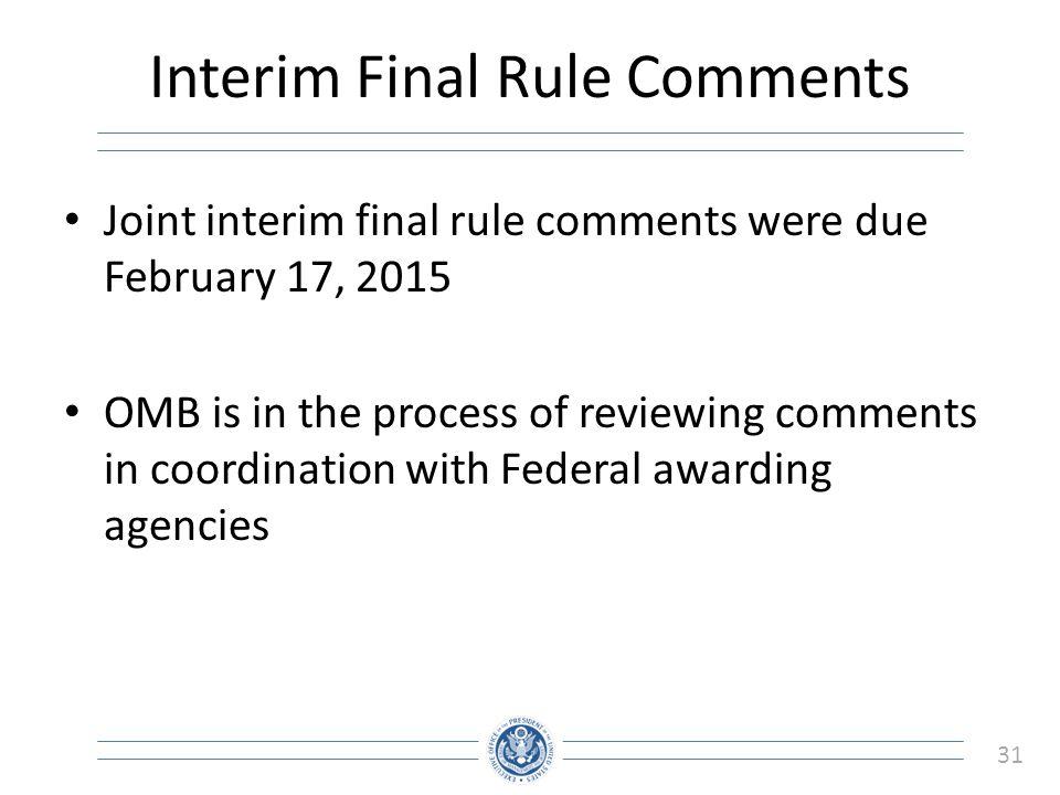 Interim Final Rule Comments