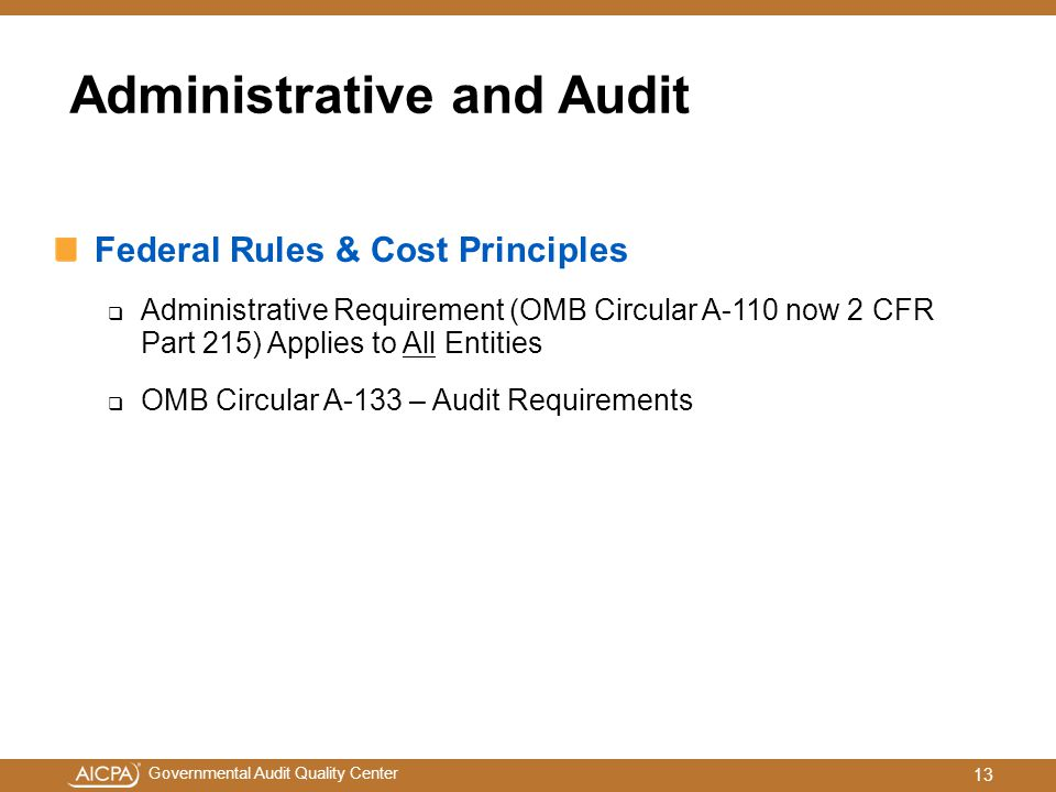 Administrative and Audit