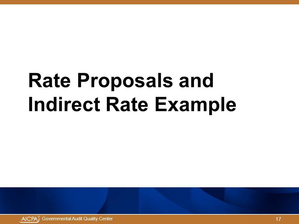 Rate Proposals and Indirect Rate Example