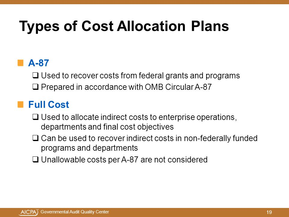 Types of Cost Allocation Plans