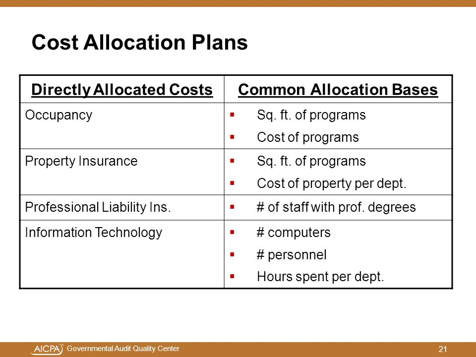 Directly Allocated Costs Common Allocation Bases