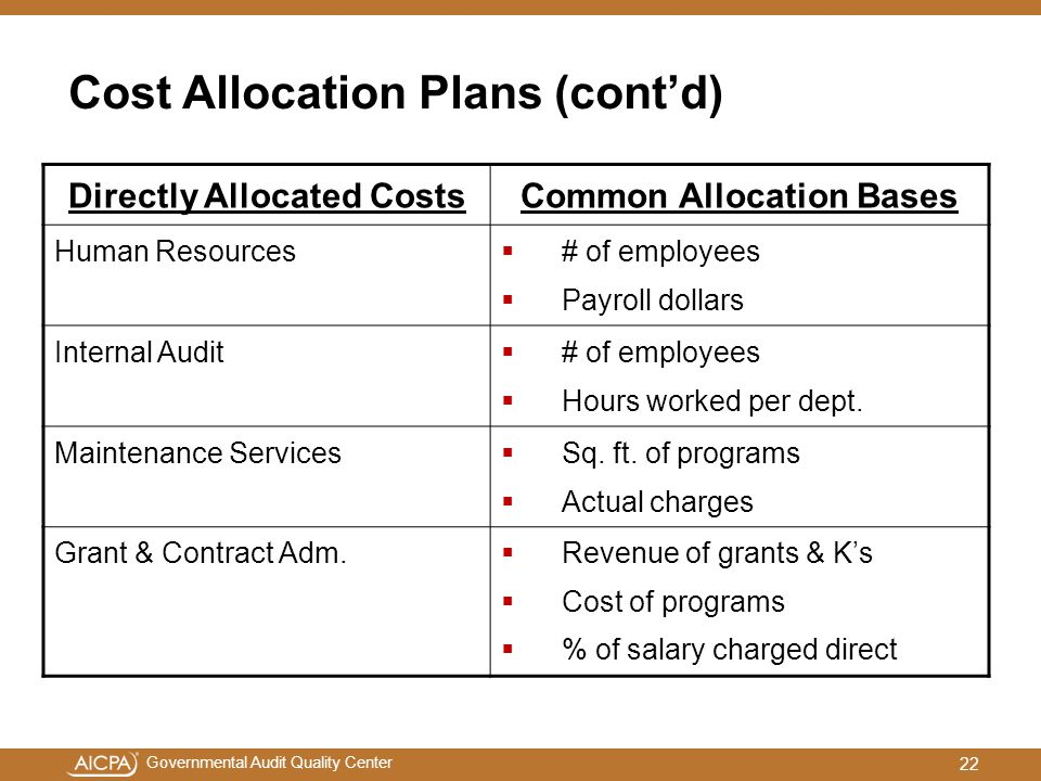 Cost Allocation Plans (cont'd)