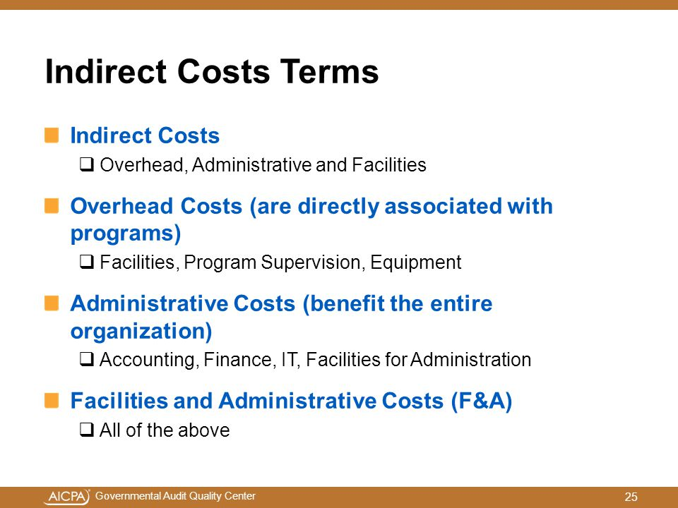 Indirect Costs Terms Indirect Costs