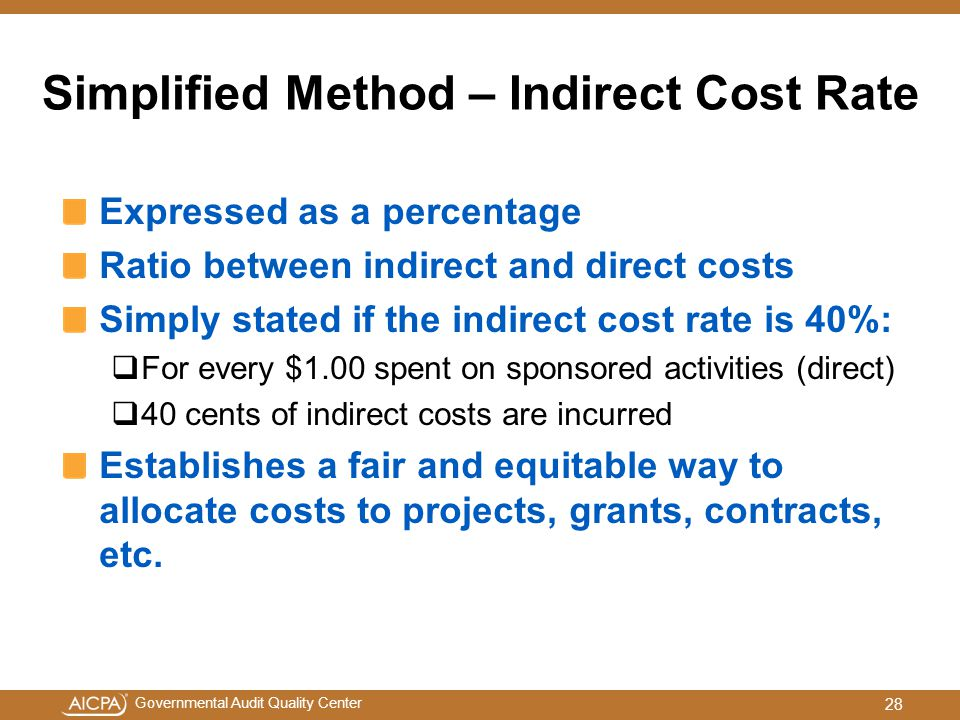 Simplified Method – Indirect Cost Rate