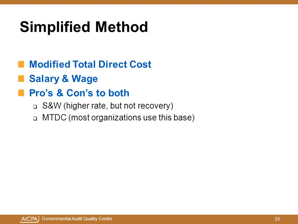 Simplified Method Modified Total Direct Cost Salary & Wage
