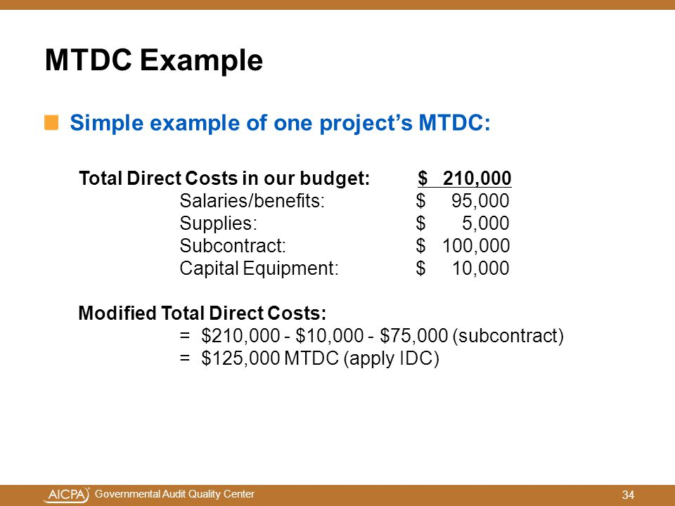 MTDC Example Simple example of one project's MTDC: