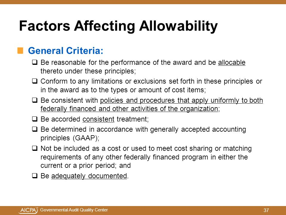 Factors Affecting Allowability